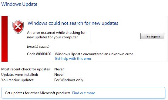 800B0100 Error Code