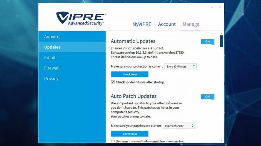 VIPRE ANTIVIRUS software looks like this on screen