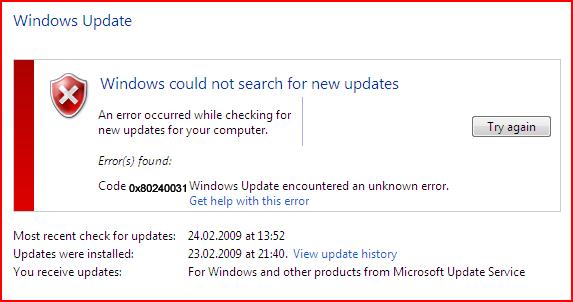 ERROR CODE0X80240031 IN WINDOWS 10
