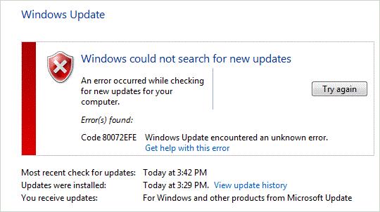 Error Code 80072efe Windows Update