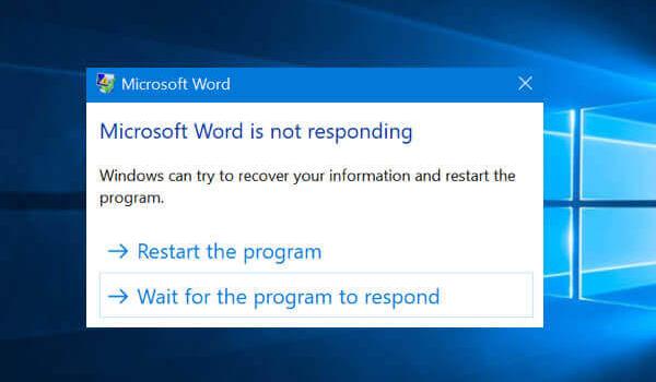 MS-word-not-responding
