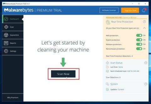 Malwarebytes Start Scan