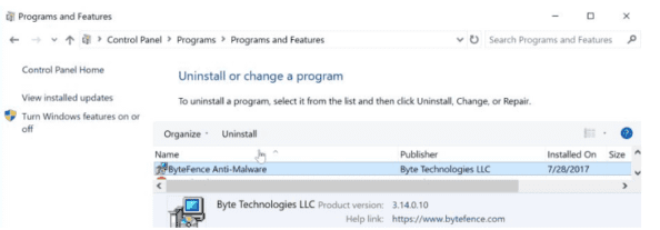 how to remove bytefence from windows 7