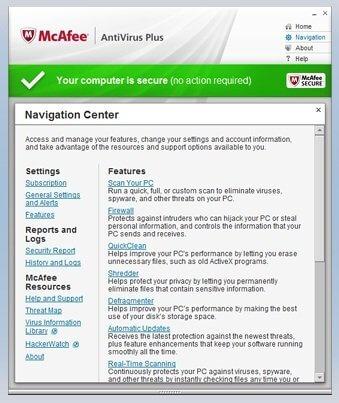McAfee Antivirus Features