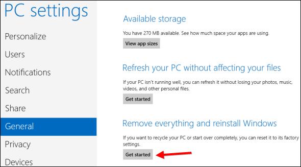 reset your windows 8 pc