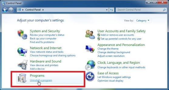 uninstall a program windows 7