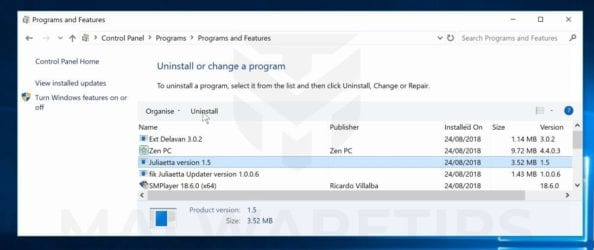 uninstall malicious programs